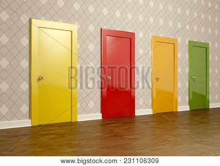 3d Rendering Of Colored Doors In A Room Representing The Concept Of Choice