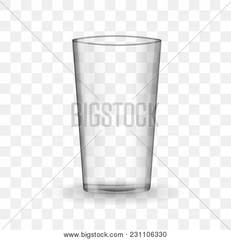 Empty Drinking Glass Cup. Transparent Glass On Checkerboard Background.