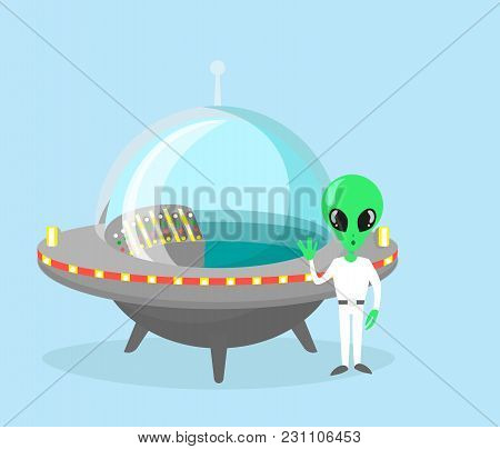 Vector Illustration Of Cute And Nice Alien Character With Spaceship On Light Blue Color Background