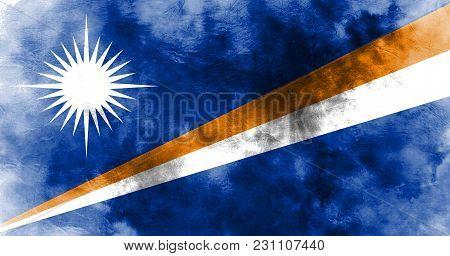 Old Marshall Islands Grunge Background Flag, Marshall Islands