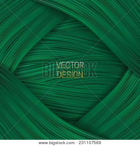 Volumetric Frame On Saturated Green Background. Trendy Packaging Design Or Cover Template.