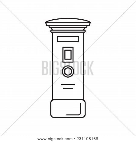 Mail Post Box Icon. Outline Mail Post Box Vector Icon For Web Design Isolated On White Background