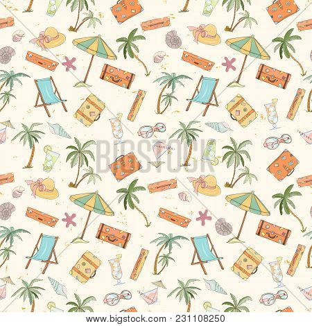Seamless Summer Beach Pattern. Endless Hand Drawn Vector Background Of Palm Trees, Sun Bed, Umbrella