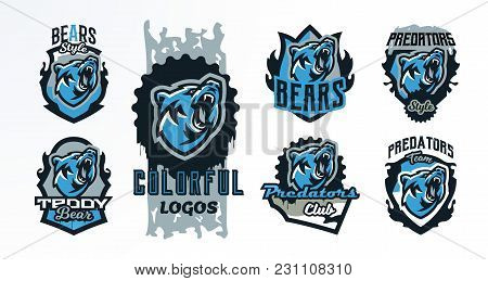 A Collection Of Colorful Emblems, Badges, Logos Of A Roaring Bear. Dangerous Predator, An Animal Of