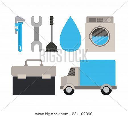 Colorful Set Of Elements Maintenance Plumbing Service Vector Illustration