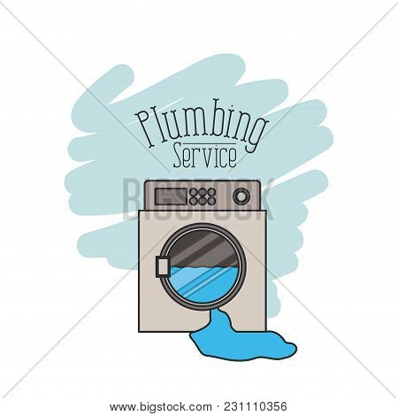 Scene Of Washing Machine Dripping Plumbing Service Vector Illustration
