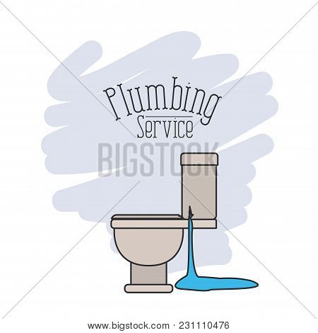 Scene Of Side View Sanitary Dripping Plumbing Service Vector Illustration
