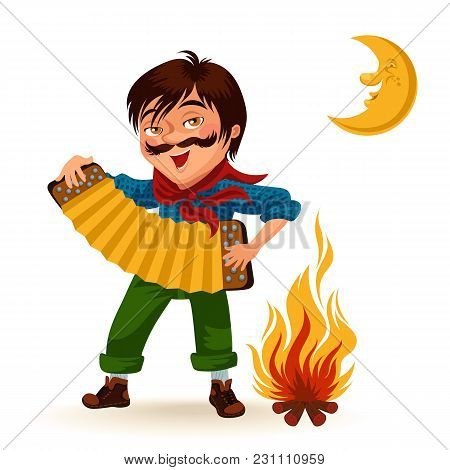 Man With Mustache Plays Sanfona Near Fire Under Moon Vector Illustration, Boy Holding Accordion At B