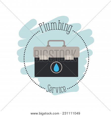 Sticker Scene Of Toolbox Plumbing Service Vector Illustration