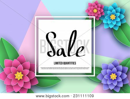 Spring Or Summer  Sale Banner With Beautiful Flowers, Leaves.