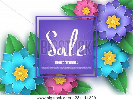 Spring Or Summer  Season  Sale Banner With Colorful  Flowers.