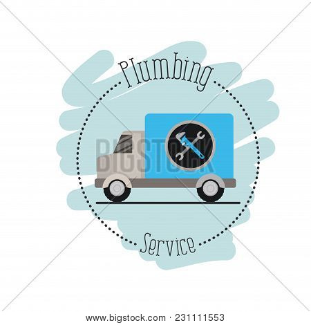 Sticker Scene Of Vehicle Car Plumbing Service Vector Illustration