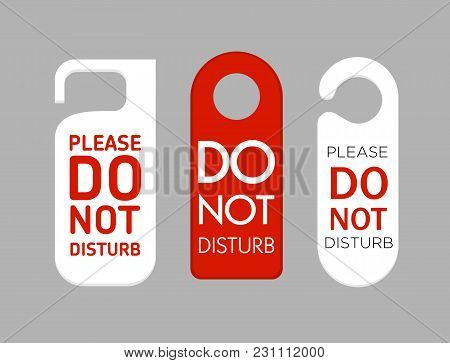Vector Illustration Of Door Labels Do Not Disturb Sign Set In Flat Style