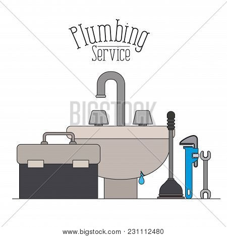 Color Poster Of Handwash Bathroom With Dripping Pipes Plumbing Service Vector Illustration