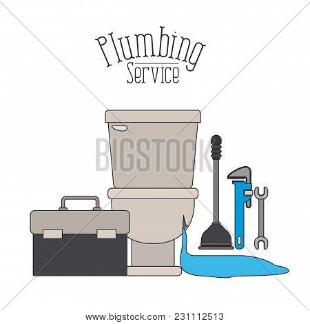 Color Poster Of Front View Sanitary Dripping Plumbing Service Vector Illustration