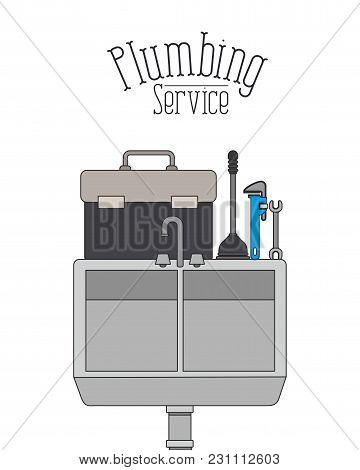 Color Poster Of Dishwasher Plumbing Service Vector Illustration