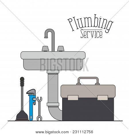 Color Poster Of Handwash Plumbing Service Vector Illustration