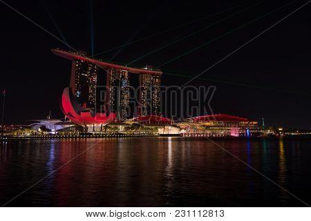 SINGAPORE CITY, SINGAPORE - FEBRUARY 26, 2018: Spectra  Light and Water Show  Marina Bay Sand Singapore  on FEBRUARY 26, 2018
