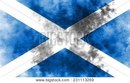 Old Scotland Grunge Background Flag, Scotland Flag