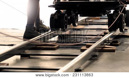Behind The Scenes Of Production Team Setting Dolly Track.