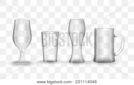 Set Of Photo-realistic Transparent Beer And Water Glasses, Mugs And Goblets. Vector Illustration On
