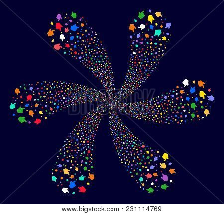 Multicolored Pointer Finger Cyclonic Twist On A Dark Background. Vector Abstraction. Hypnotic Whirlp