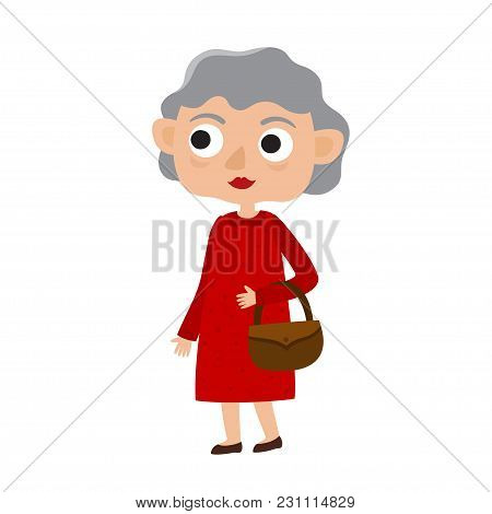Happy Senior Lady With Silver Hair In Red Dress. Cartoon Old Age Woman Isolated On White Background.