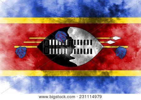 Old Swaziland Grunge Background Flag, Old Flag