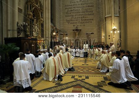ZAGREB, CROATIA - APRIL 02: Holy Thursday, Mass Lord's Supper, led by Cardinal Josip Bozanic, Archbishop of Zagreb