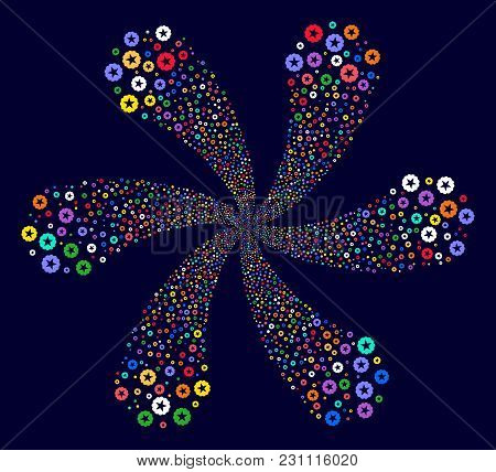 Colorful Quality Cyclonic Spin On A Dark Background. Vector Abstraction. Hypnotic Spiral Combined Fr