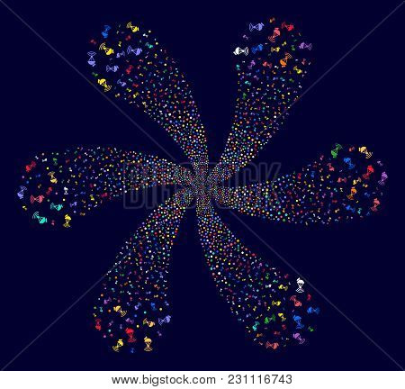 Psychedelic Radio Transmitter Centrifugal Fireworks On A Dark Background. Vector Abstraction. Sugges