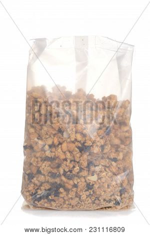Bag Of Granola Raisin Almond Cereal On White Background