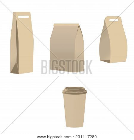 Set Of Shopping Bags, Paper Glass Isolated On White Background Vector Layout. Layout For Advertising
