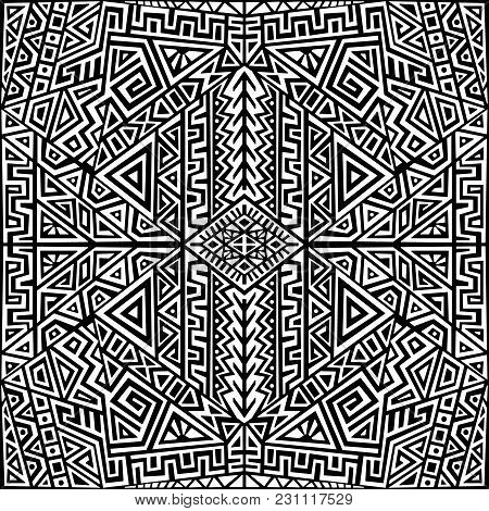 Creative Ethnic Style Square Seamless Pattern. Unique Geometric Vector Swatch. Perfect For Screen Ba