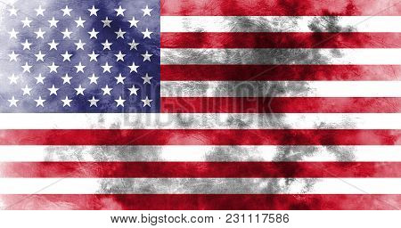 Old United States Grunge Background Flag, Us