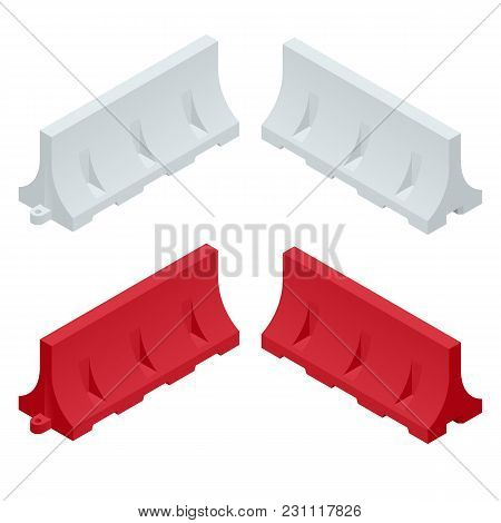 Isometric Red And White Plastic Barriers Blocking The Road. Maintenance And Construction Of Pavement