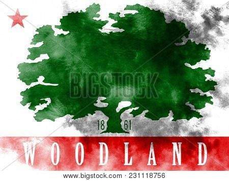Woodland City Smoke Flag, California State, United States Of America