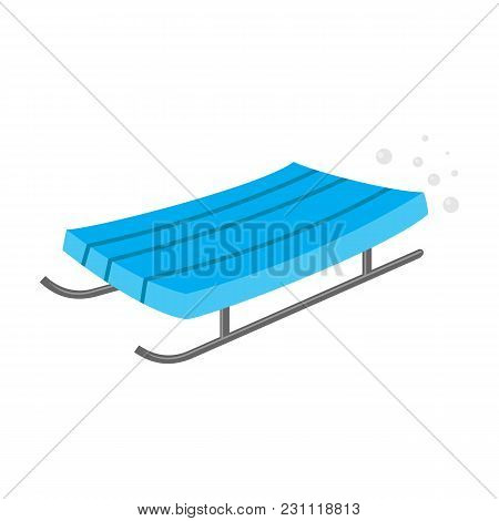 Simple Blue Wooden Sled, Sleigh, Sledge With Metal Runners, Cartoon Vector Illustration Isolated On