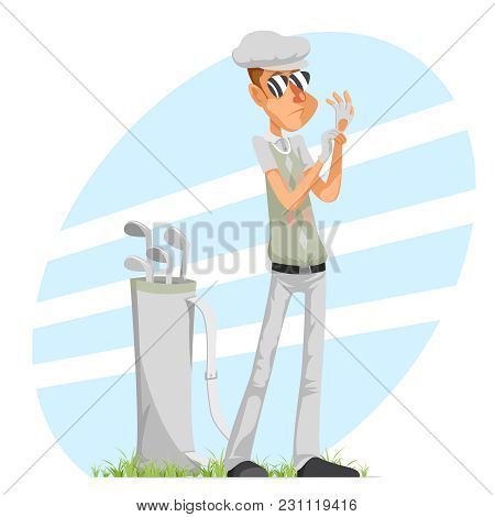 Cool Professional Golfer Player Adjusts Champion Glove Golf Club Isolated Cartoon Character Design V