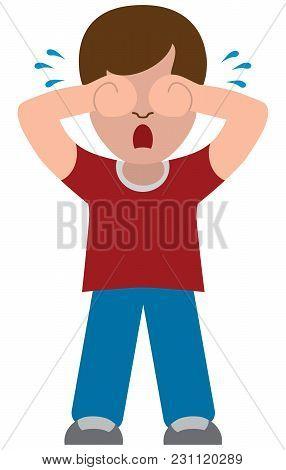 An Unhappy Flat Vector Cartoon Boy Is Sobbing