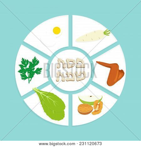 Passover Seder Plate, Holiday Symbolic Foods, Symbols Of Pesach, Matzah Greeting Inscription In Hebr