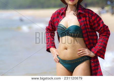 Woman Body Pretty With Bikini Outdoor On Beach At Bang Beot Beach, Chumphon Province Thailand