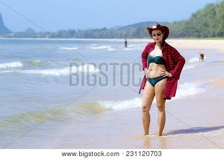 Woman Shape Sexy And Bikini Daylight On Beach At Bang Beot Beach, Chumphon Province Thailand