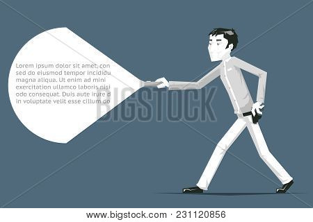 Security Guard Sneak Walk Cartoon Polygonal Security Character Vector Illustration