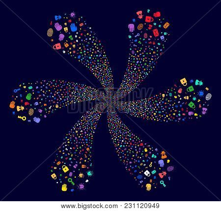 Multicolored Secret Service Exploding Flower With 6 Petals On A Dark Background. Vector Abstraction.