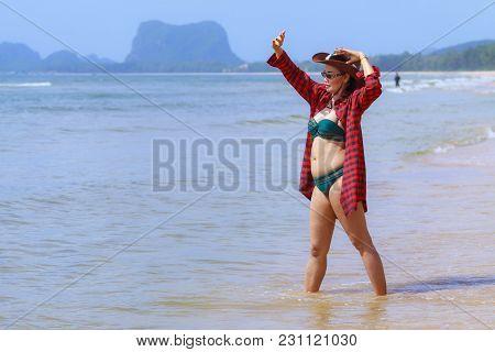 Woman And Bikini Beautiful With Sunshine On Beach At Bang Beot Beach, Chumphon Province Thailand