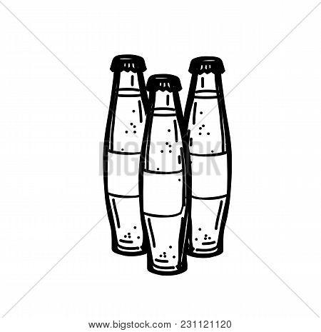 Hand Drawn Ink Sketch Of Three Soda Bottles On White Background