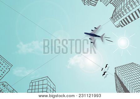 Sketch Of City High Rise Buildings And Sun, With Miniature Plane On Top Of Sky Paper Background With