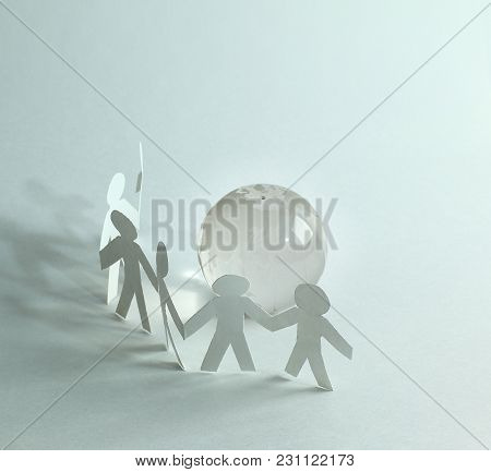 Business Background.three Paper Man Paper Background.photo With Copy Space