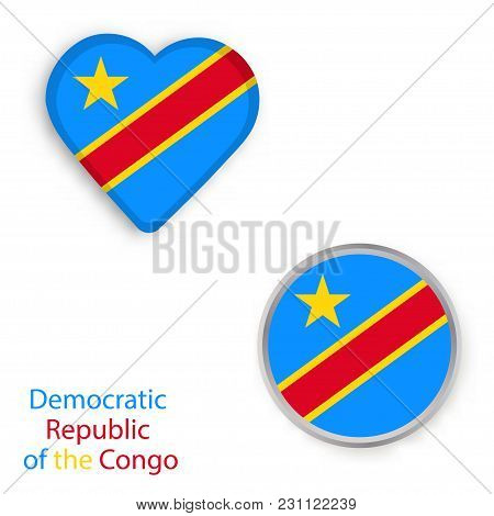 Heart And Circle Symbols With Flag Of The Democratic Republic Of The Congo. Vector Illustration